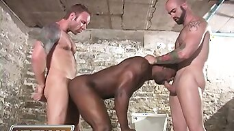 2 white guards tease, hurt and fuck a muscular starless