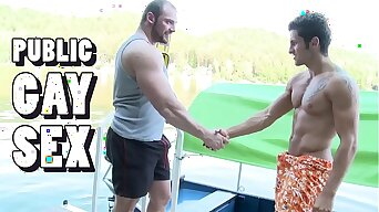 GAYWIRE - Muscular Studs Tomm & Rudy Black Bumping Uglies Out In Public