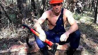 Sexy WOODCUTTER makes A Young GAY man swell up cock and lick balls / Dirty Talk