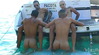 Sex on the Beach! Four horny young guys go on a speedboat ride visiting the astonishing islands of Cabo Frio. Horny in this unique settring and amazing setting they set about in wild and hard sex!!! P1. Continues Xvideos RED